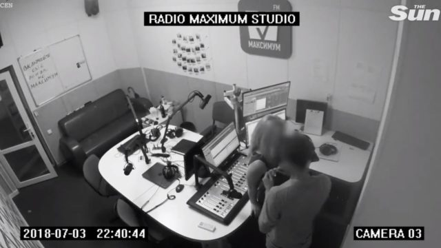 "Randy news announcer busted on CCTV showing his missus some ""breaking news"""
