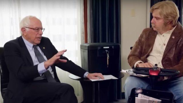 Bernie Sanders tries to keep his cool as Sacha Baron Cohen trolls him in new show