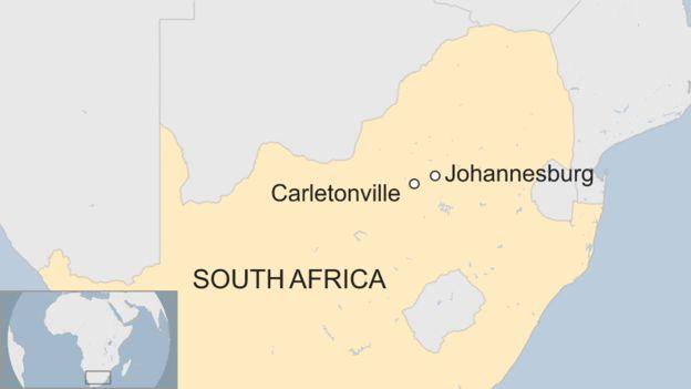 Carletonville is just outside of Johannesburg. Credit: BBC
