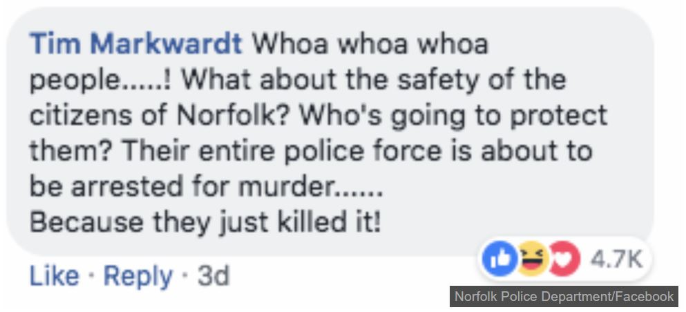 Good onya, Tim! Credit: Norfolk Police Department/Facebook