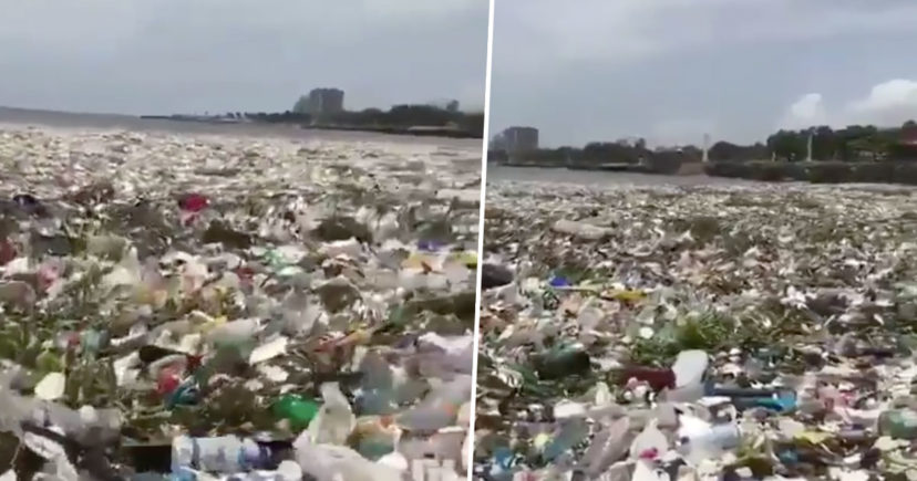Appalling footage shows sea completely inundated with rubbish