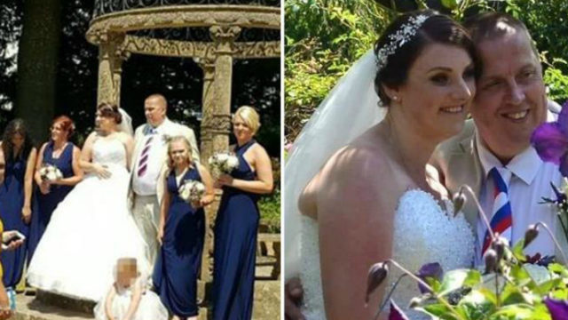 Couple's wedding photos photobombed by sunbather who refused to move