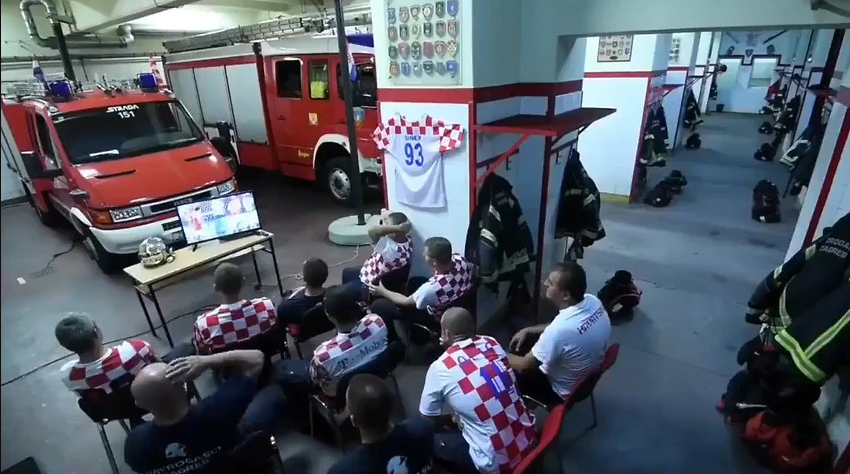Croatian Firefighter's response to emergency alarm during world cup penalty shootout goes viral