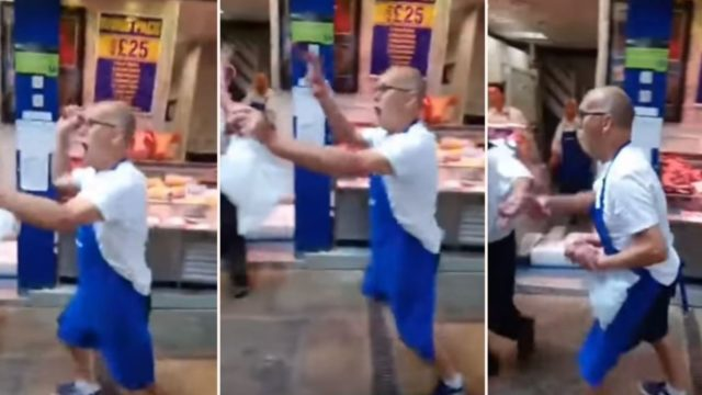 Butcher swings his meat around at vegan protesters outside his shop