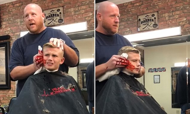 10 year old boy left horrified by barber's brilliant prank