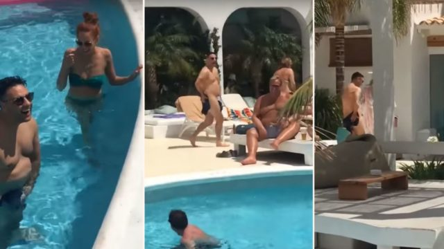 Bloke's mates prank him with dissolvable swimming shorts while on holiday