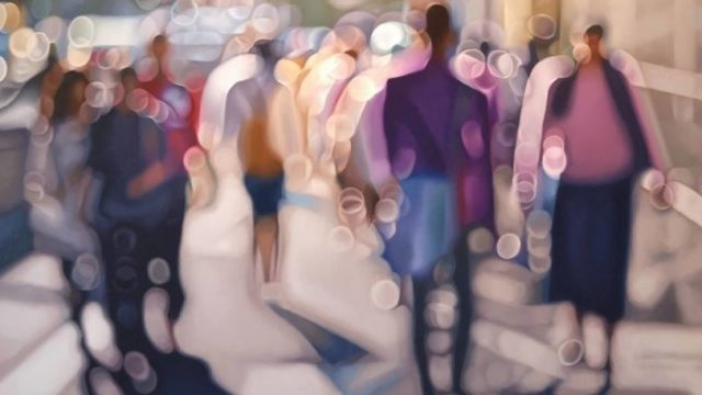 This artist's painting style perfectly captures what blurry vision is like