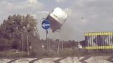 Van hurtles straight into roundabout like a f*cken game of Mario Kart