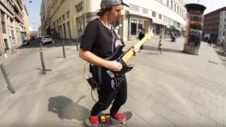 Coolest bloke on Earth shreds some Hendrix while skateboarding