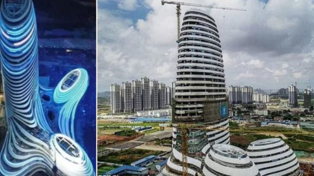"China erects ""dick"" building that shoots fireworks from its tip"
