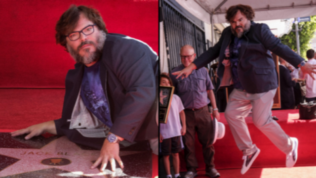 Jack Black's celebration for receiving Hollywood star was brilliant