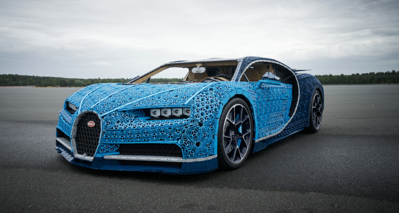Lifesize drivable Bugatti built with over a million Lego pieces