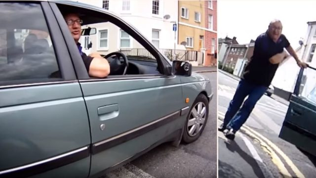 F*cken angry cyclist vs f*cken angry driver ends brilliantly