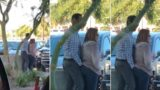 Bloke scratches wife's anus in public, she smells his finger