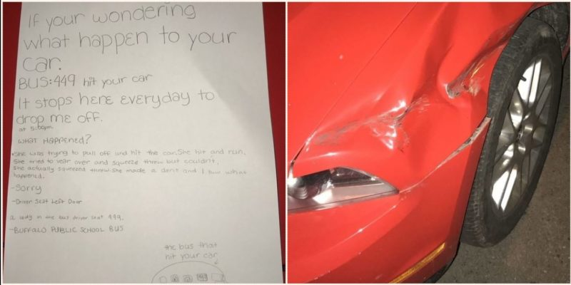 Honest sixth grader leaves detailed note after bus driver hit and run