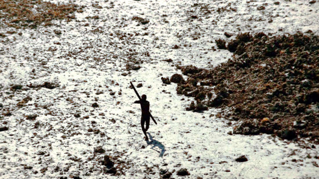 The Sentinelese fire arrows at helicopters passing by. Credit: Indian Coastguard/Survival
