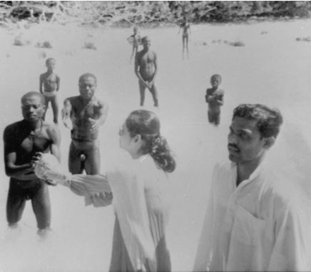 An actual image of Madhumala with the Sentinelese. Credit: Facebook/Madhumala Chattopadhyay