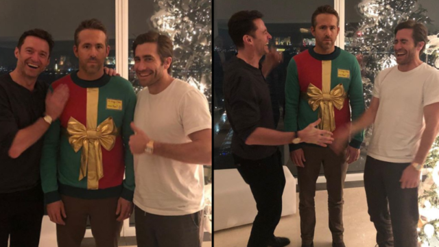 Hugh Jackman & Jake Gyllenhaal play hilarious prank on Ryan Reynolds for Christmas