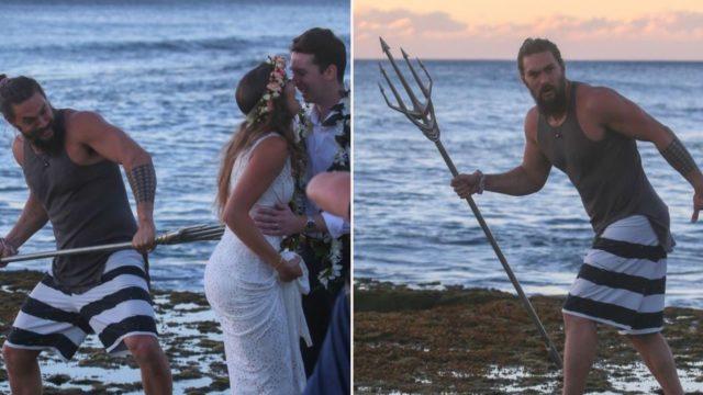 Aquaman Jason Momoa photobombs couple's wedding pics on Hawaiian beach