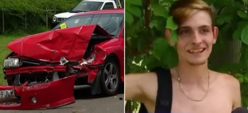 Aussie bogan goes viral after he crashed his missus' car and ran from the cops