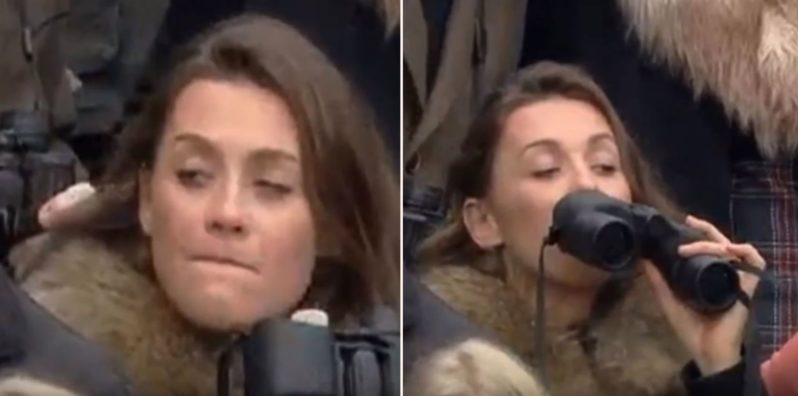 Sheila caught drinking from secret binocular flask at the races goes viral