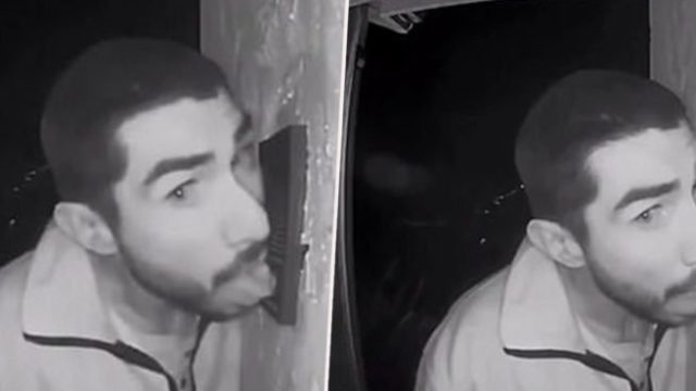 Californian bloke caught on CCTV camera licking strangers doorbell for 3 hours