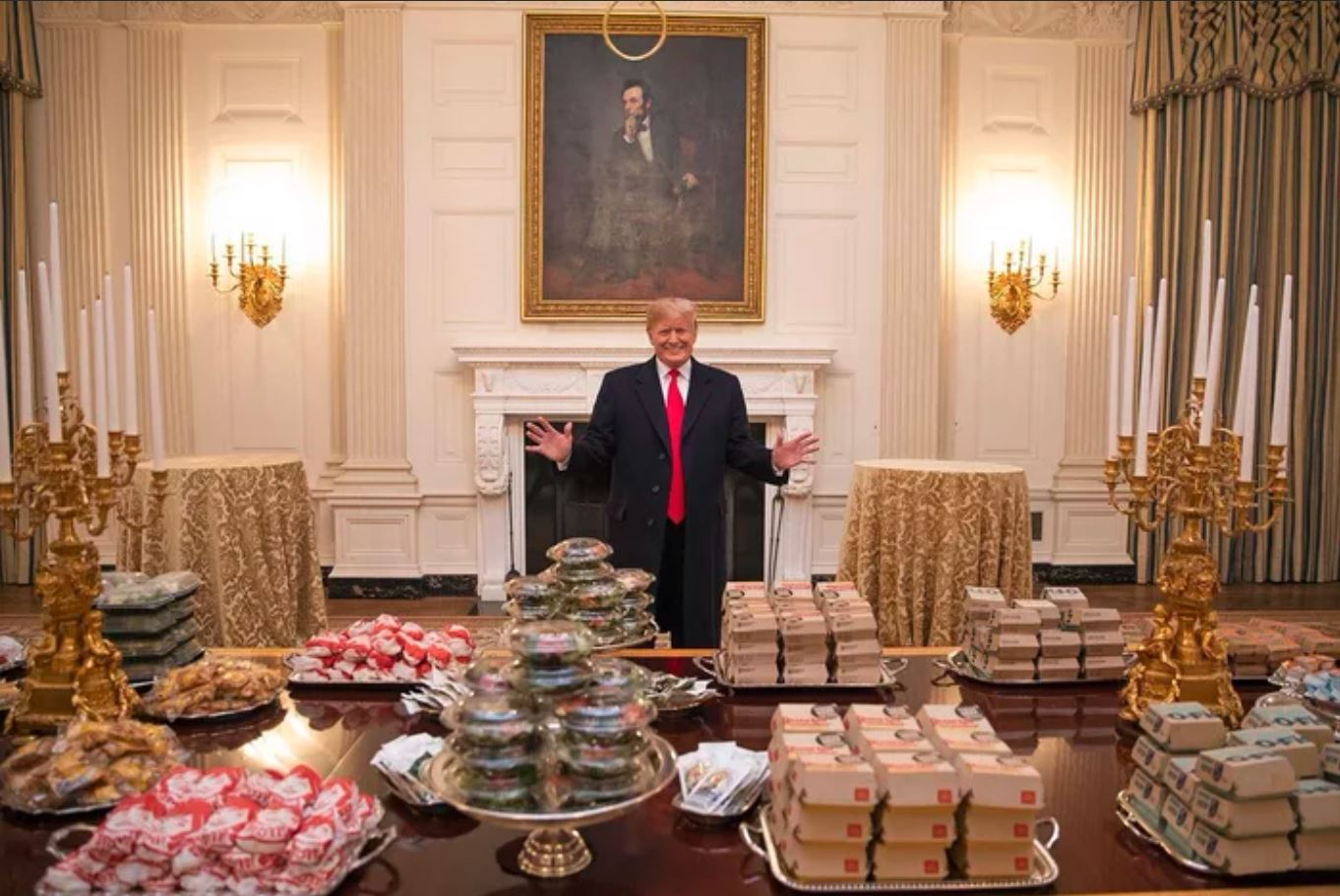Trump serves McDonald's on silver platters at White House lunch for college football champs