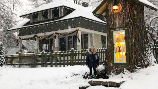 Sheila converts 110-year-old dead tree into a free little library for the neighborhood