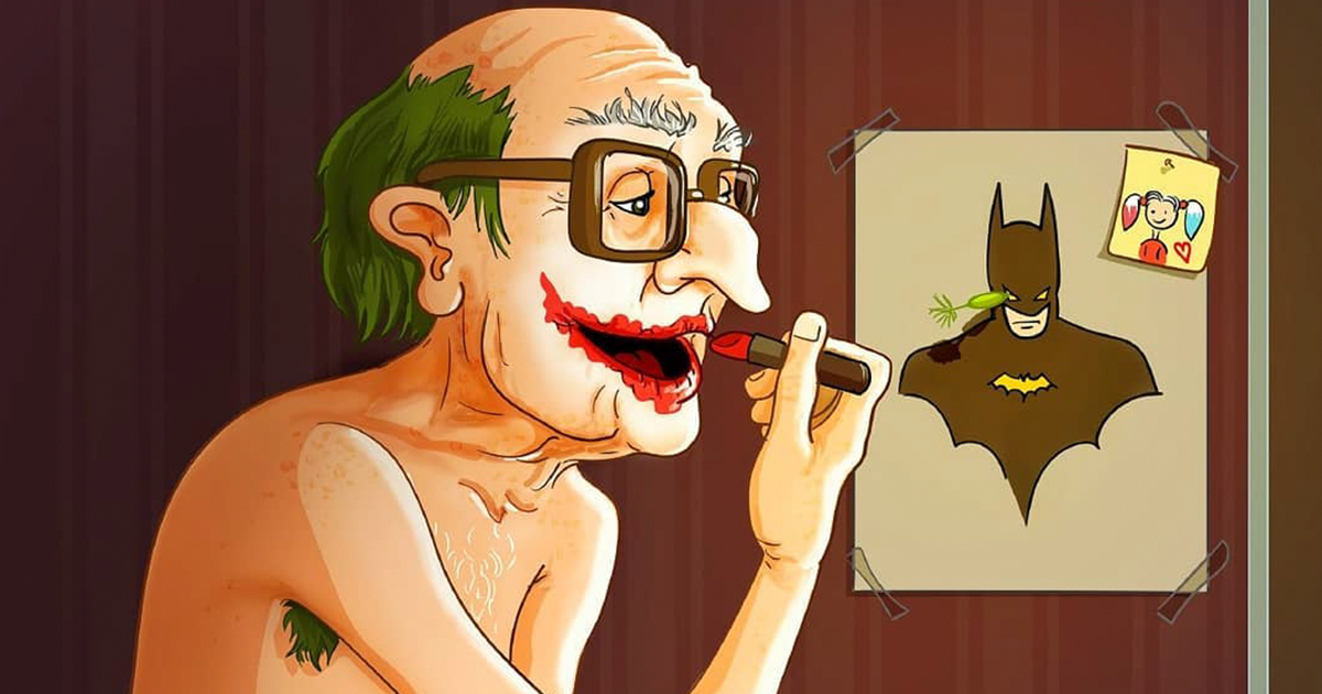 Russian artist illustrates what would happen if famous characters got old
