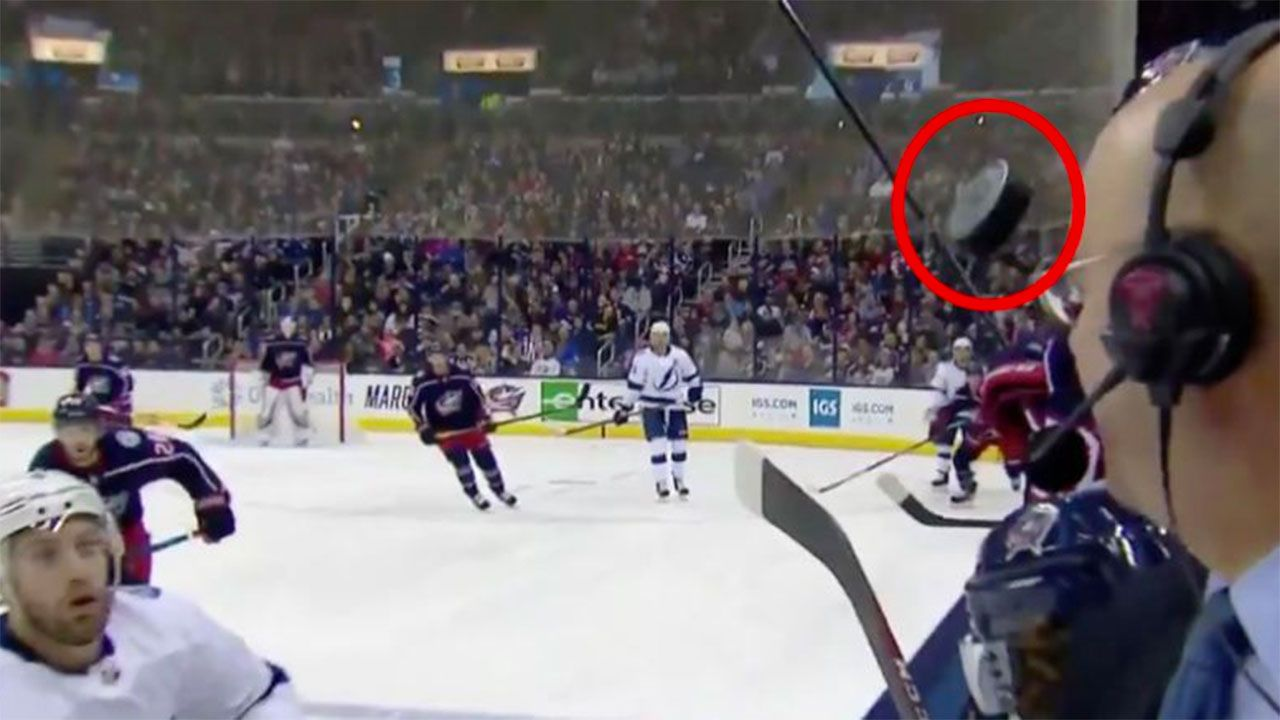 Hockey puck nearly sends NHL commentator to Destination F*@#ed!