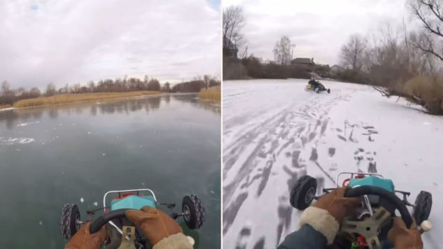 Real-life Russian Mario Kart on a frozen river is f***en insane!