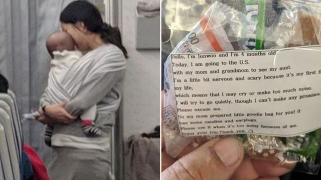 Mum with baby on flight provides goodie bags for 200 passengers