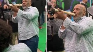 Mike Tyson filmed smoking foot-long joint at pot festival