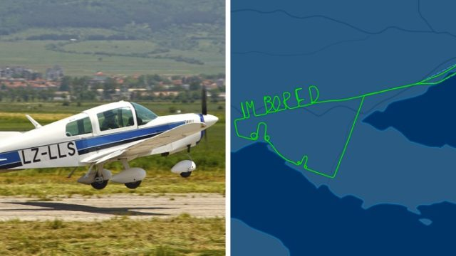 Pilot expresses his boredom on 2 hour flight with flight path writing