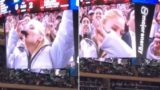Sansa Stark chugs her wine on the Jumbotron like a f***en champion
