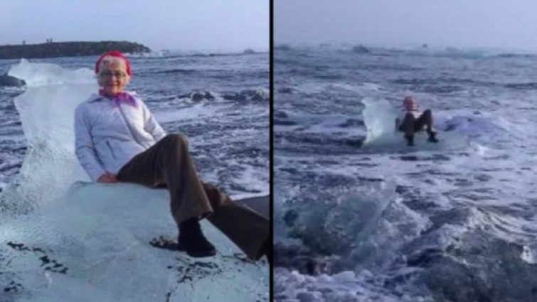 Granny drifts off to sea after attempting to snap perfect photo on throne-shaped iceberg