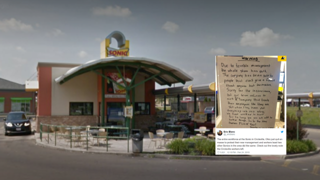 Entire burger joint staff quit together and leave brutal message for boss on window