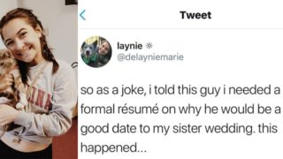 Sheila demands resume from prospective dates, bloke nails it
