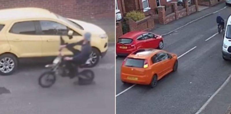 CCTV captures biker on drunken crime spree get rammed into a parked van