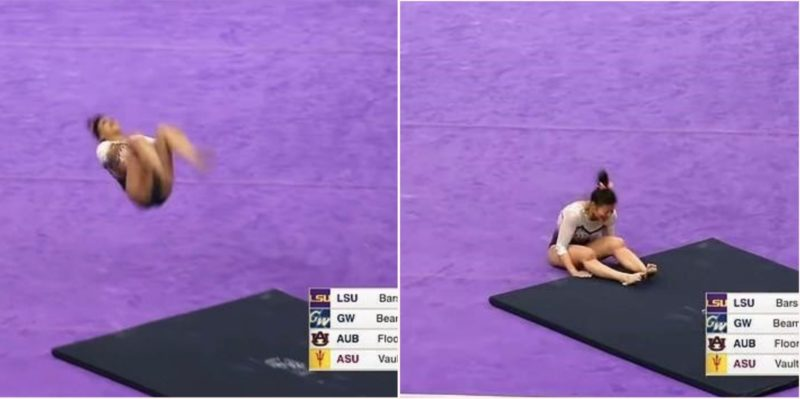 Gymnast has a bloody brutal fall straight into Destination F#@*ed