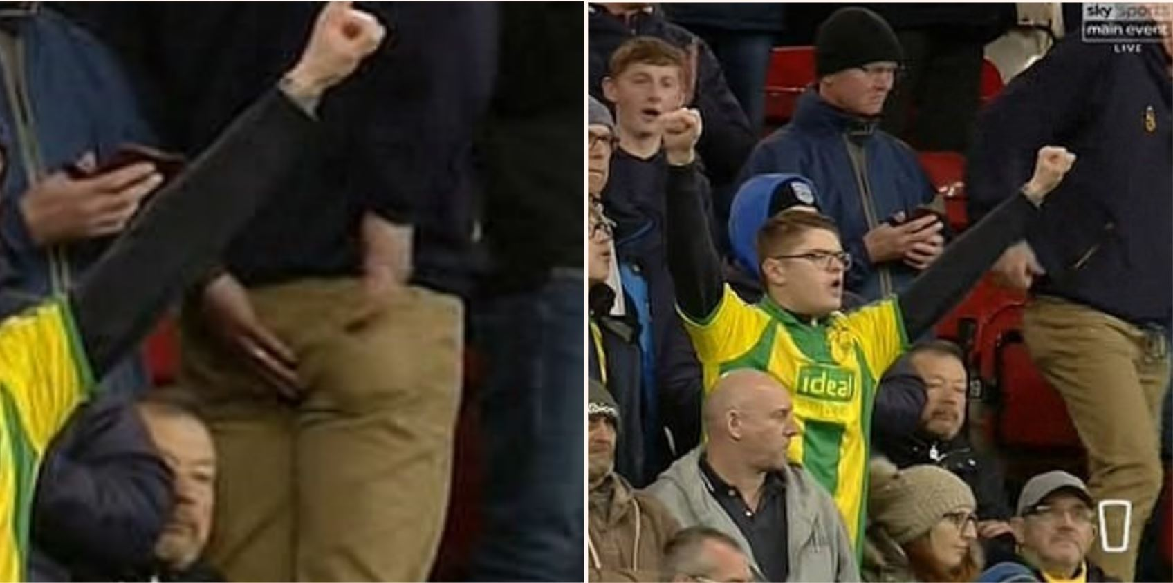 West Brom football fan appears to have had an unfortunate accident that aired on live TV
