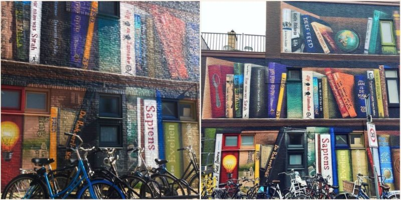 Artist transforms apartment block into mural of residents favourite books