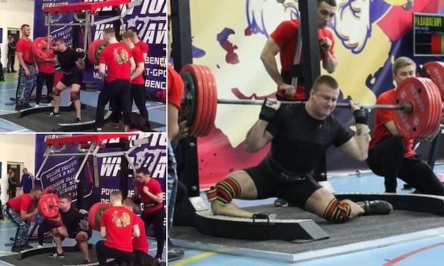 Sickening moment Russian weightlifter's leg snaps attempting 250kg squat