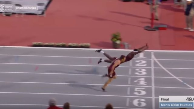 Infinite Tucker sends internet into a frenzy with Superman dive in hurdles race