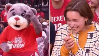 Emilia Clarke squeals as NBA mascot drops coffee cup and bends the knee