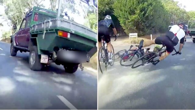 Group of cyclists go tumbling after ute overtakes and brakes, the Internet is divided