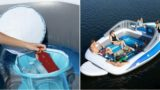 This 20-foot inflatable boat is too big for the pool but it's got a esky built in!