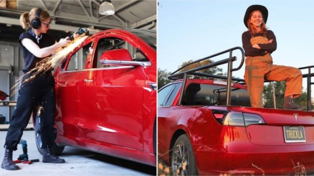 This legend turned her Tesla Model 3 into a bloody mint pickup truck