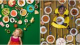 Kids from different parts of the world photographed with what foods they eat in a week