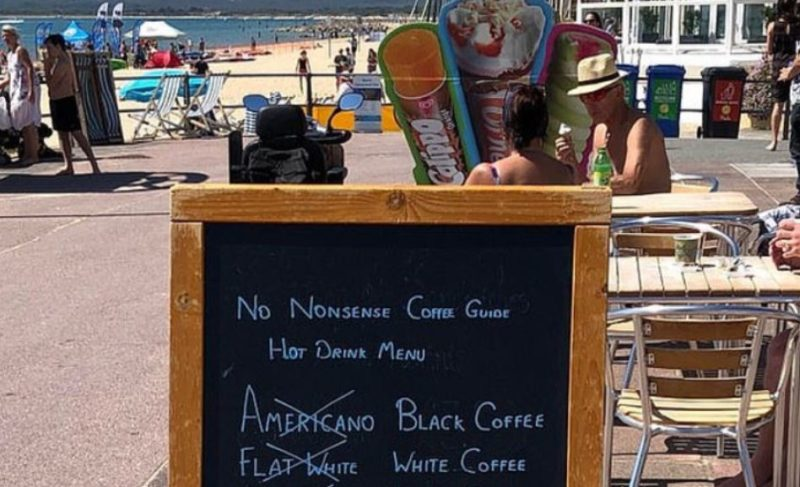 This café's 'no nonsense' coffee advertisement has caused an outrage